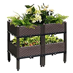 Package includes: 4x Complete Elevated Bed Elevated bed is a easy way to raised bed gardening,it allows you to garden in comfort alleviating the need to bend or stoop,perfect for elderly gardeners! Elevated bed also provides insulation to you...