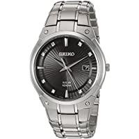 Seiko Men's Solar Silvertone Watch With Diamond Accents