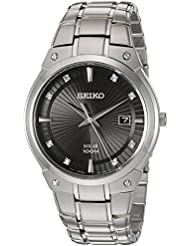 Seiko Mens Quartz Stainless Steel Casual Watch, Color:Silver-Toned (Model: SNE429)