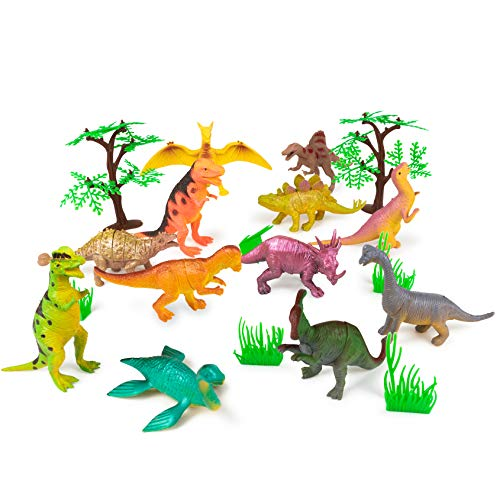 Meklines Dinosaur Party Favors Set - Pack of 12 Assorted Large Dinosaurs for Kids - Realistic Dinosaur Toys Ideal for Birthday Parties, Exhibits & Displays. ()