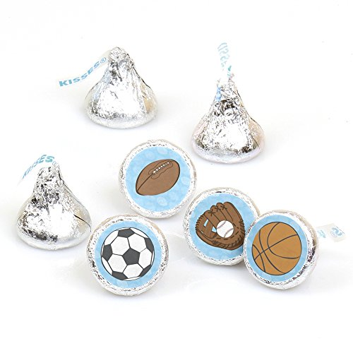 All Star Sports - Baby Shower or Birthday Party Round Candy Sticker Favors – Labels Fit Hershey's Kisses (1 sheet of 108) -