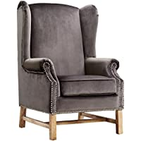 TOV Furniture Nora Velvet Chair, Grey