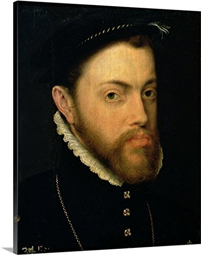 Portrait of Philip II of Spain (1527-98) (oil on panel) Gallery-Wrapped Canvas by greatBIGcanvas