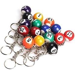 Femitu Billiard Ball Keychain Pool Keying 25mm (Pack of 16)