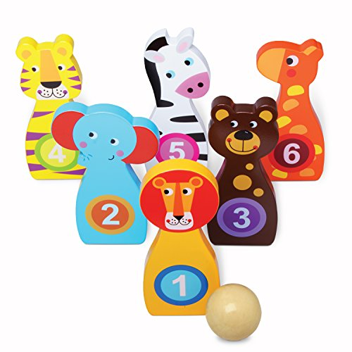 USA Toyz Kids Bowling Set Learning Toys - Indoor / Outdoor Wooden Bowling Set with Numbered Zoo Animals Bowling Pins and Wood Bowling Ball (7pc)