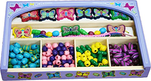 Toys of Wood Oxford Wooden Beads for Jewellery Making – wooden butterfly (9) and beads (180) for crafts in a wooden jewellery box - wooden beads jewellery (Wooden Beads Jewellery)