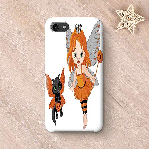 (Halloween No Odor Compatible with iPhone Case,Halloween Baby Fairy and Her Cat in Costumes Butterflies Girls Kids Room Decor Decorative for iPhone 7/8 Plus,iPhone)