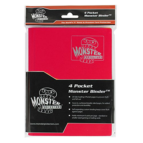 Trading Card Album (Monster Binder - 4 Pocket Trading Card Album - Matte Red - Holds 160 Yugioh, Magic, and Pokemon Cards)