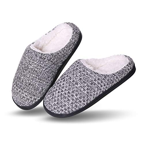 YEBING Womens Knit Memory Foam House Slippers Warm Soft Sole Anti-Slip Slippers Indoor Shoes (7-8 B(M) US, Gray)