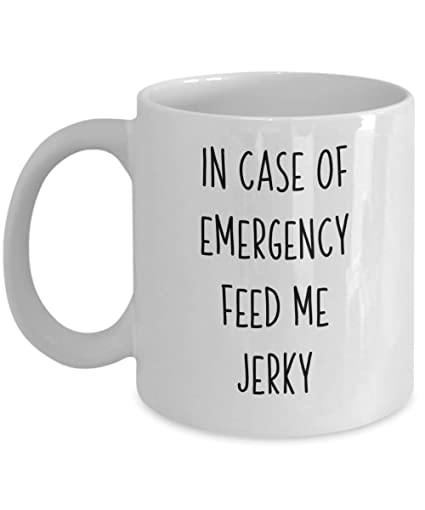 Amazon com: Feed Me Jerky Coffee Mug Jamaican Food Lover Tea