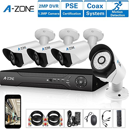 A-ZONE-4-Channel-1080P-AHD-Home-Security-Cameras-System-W-4x-HD-13MP-waterproof-Night-vision-IndoorOutdoor-CCTV-surveillance-Camera-Quick-Remote-Access-Setup-Free-App-Including-2TB-HDD