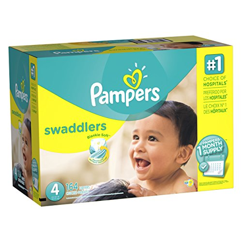 : Pampers Swaddlers Disposable Diapers Size Size 4 (22–37 lb), 164 Count (One Month Supply)