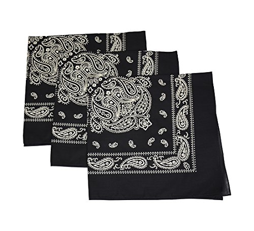 - Set of 3 Black Large Cotton Paisley Bandanas