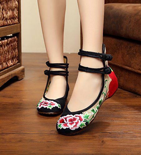 Cinturón Zapatos Lino Moda Femeninos Étnico De Tendón Black Lenguado Cómodo Estilo Bordados Doble Zll 4Tx1vv