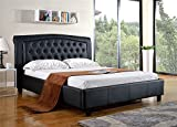Milton Greens Stars Darcy PU Platform Bed with Tufted Headboard, California King, Black