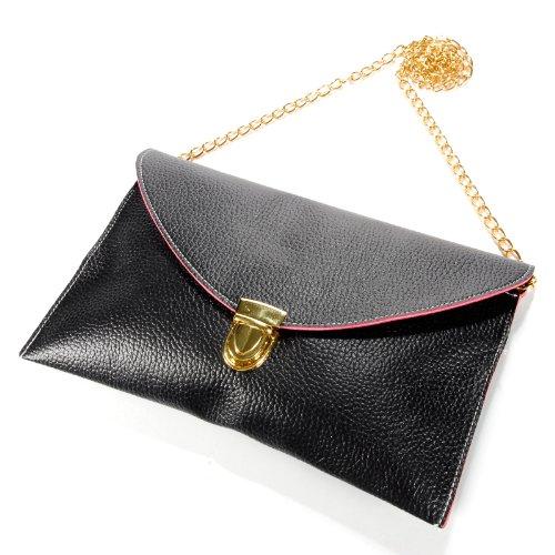 Gleader Donna borsa della busta catena borsa della signora borsa a spalla Borsa a tracolla borsa - Nero