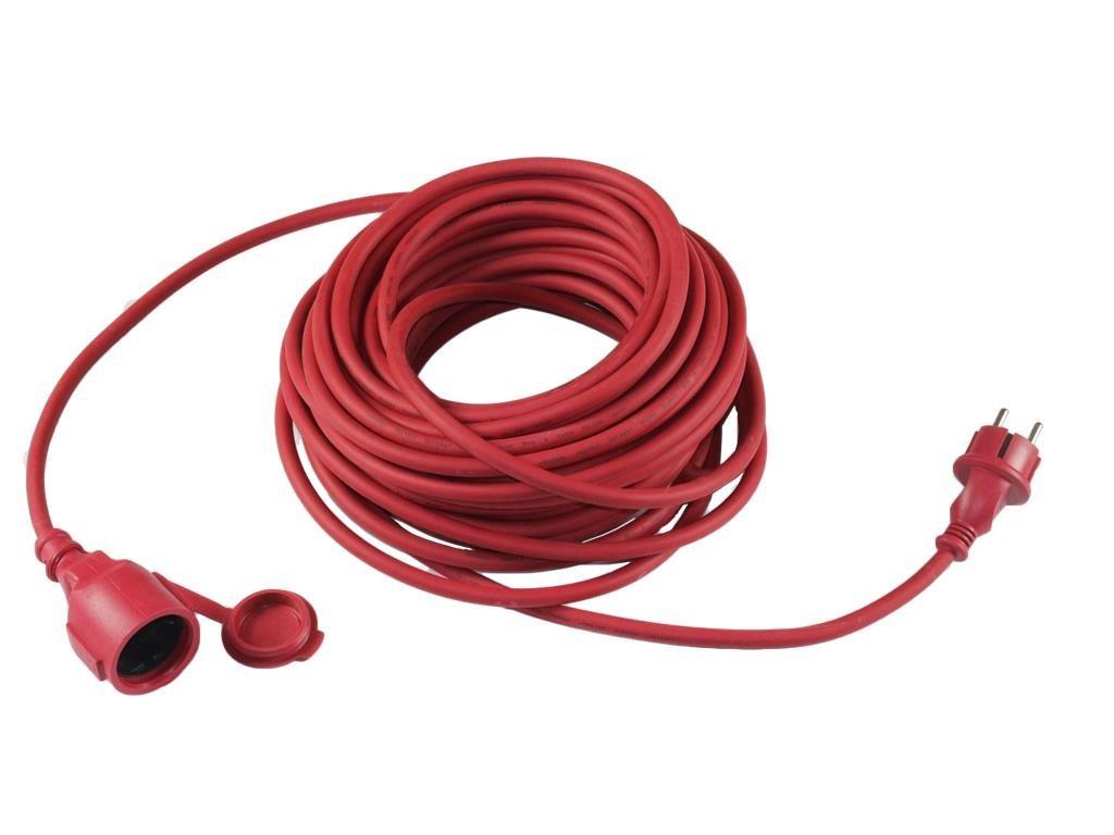 10 Meter rotes Auß enverlä ngerungskabel Gummi Verlä ngerungskabel 10 m rot fü r Auß en und Innen, H05RR-F 3x1,5mm² , IP 44, mit Schutzkontaktstecker und - kupplung, Grizzly Tools