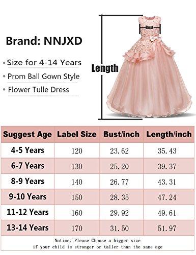Fiesta Vestido para del Blanco Encajes de Princesa de con Niñas Falda sin Desfile NNJXD Mangas FBxwPqx