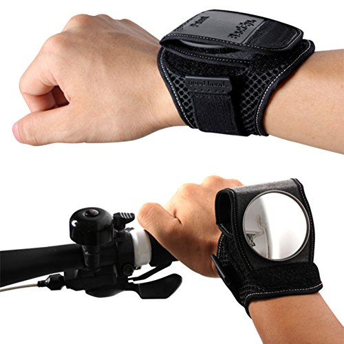 ZCON Adjustable Reflective Bicycle Bike Cycling Rearview Mirror Wrist Band Strap - Black One Size