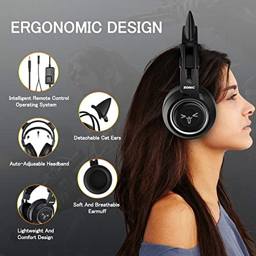 SOMIC Stereo Gaming Headset with Mic for PS4, PS5, Xbox One, PC, Mobile Phone, 3.5MM Sound Detachable Cat Ear Headphones Lightweight Self-Adjusting Over Ear Office Headphones G951S Black