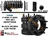 2003-2018 Full Set Hubcentric F-250 & F-350 Wheel Adapter 8x170 Bolt Pattern 125mm Bore + 32 Pc Black Bulge Acorn Lug Nuts 14x1.5 Fits 03-05 Excursion