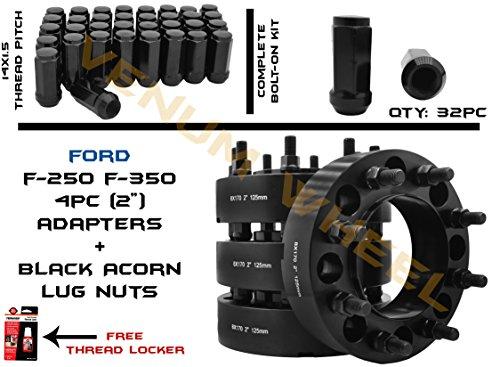 2003-2018 Full Set Hubcentric F-250 & F-350 Wheel Adapter 8x170 Bolt Pattern 125mm Bore + 32 Pc Black Bulge Acorn Lug Nuts 14x1.5 Fits 03-05 (23mm Wheel Adapter)