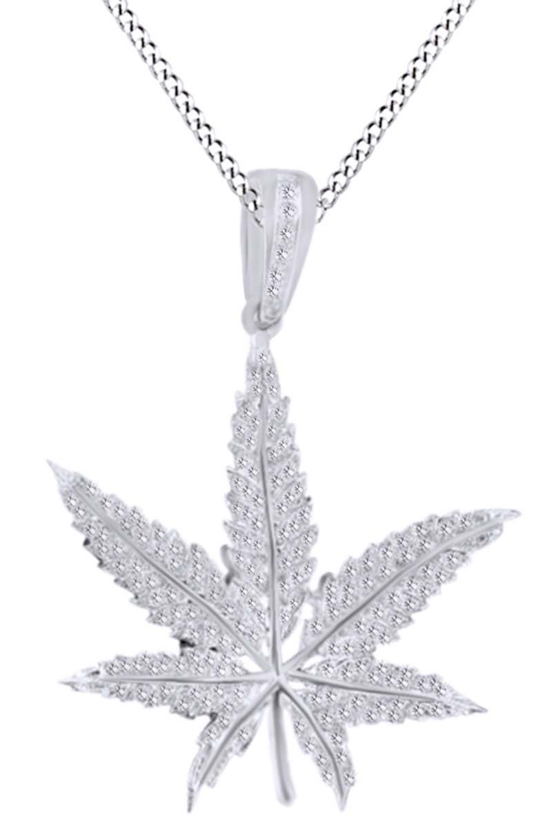 Valentines Day Gift White Natural Diamond Marijuana Leaf Weed Mary Jane Pendant In 10k Solid Gold (0.38 cttw)