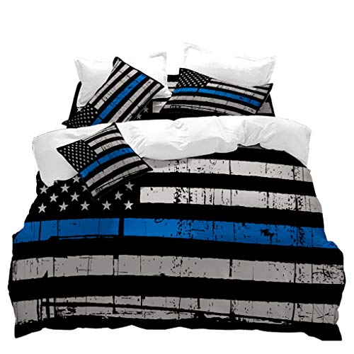 VITALE 5 Pieces Queen Size Bedding Set,American Flag Printed Sheets Set,Blue Stripe Bed Set,Duvet Cover,Fitted Sheet,Flat Sheet,2 -