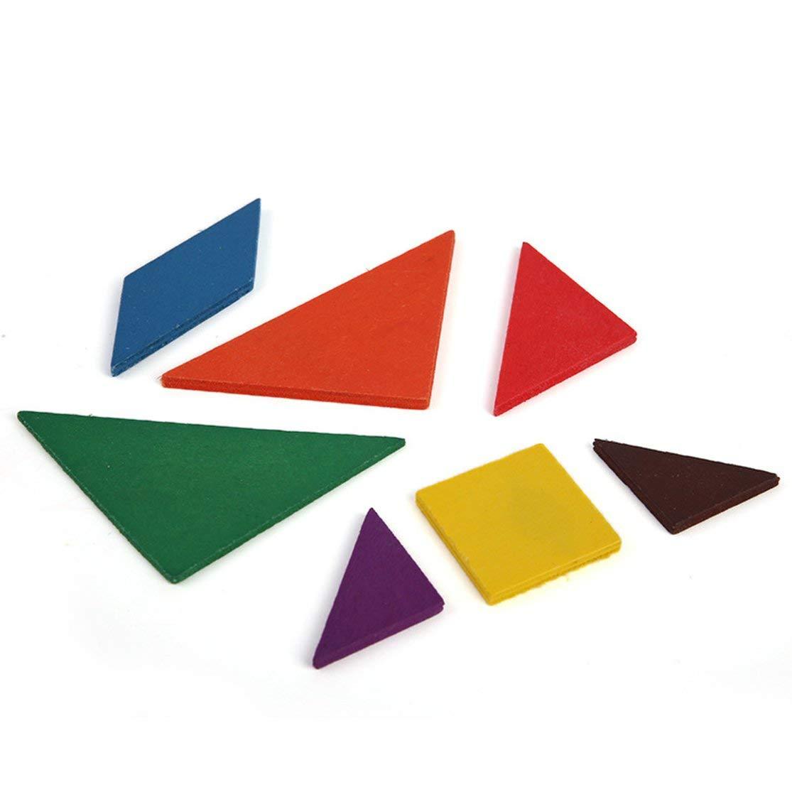LouiseEvel215 Fun en Bois G/éom/étrie Losange Tangram Puzzle Forme Cognitif D/éveloppement Intellectuel Jouets pour Enfants Enfants Lumi/ères Jouet