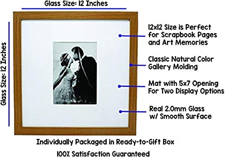 Wide Molding 12x12 White Wood Gallery Picture Frame with Mat to 5x7 Great for Scrapbooking Display Pictures 12 x 12 Includes Both Attached Hanging Hardware and Desktop Easel