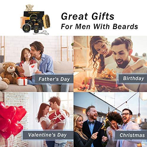 Beard Growth Kit, CandyHome Beard Care Kit with Beard Brush, Beard Oil, Beard Comb, Beard Balm & Scissor for Men Gift…