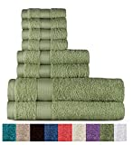 Welhome 100% Cotton 8 Piece Towel Set (Sage); 2 Bath Towels, 2 Hand Towels and 4 Washcloths, Machine Washable, Super Soft