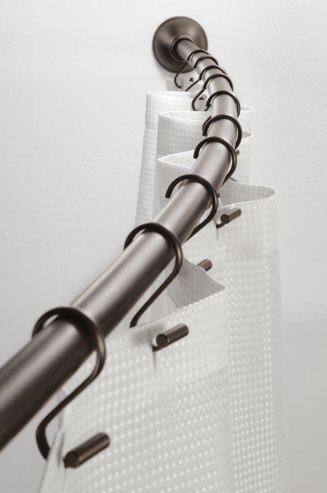 mDesign bastone tenda doccia arrotondata – Asta tenda doccia regolabile – Accessori doccia 104-183 cm – Fissaggio al muro – Colore: nero opaco MetroDecor