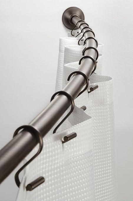 mDesign Barra de cortina curva Barra para ducha extensible para montaje de pared Medidas: 104-183 cm Soporte de cortina de ba/ño Negro mate