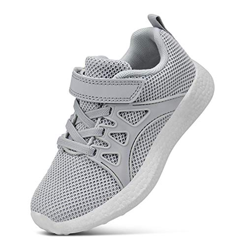 SouthBrothers Girls Sneakers Mesh Breathable Non Slip Casual Walking Athletic Shoes for Boys Grey Size