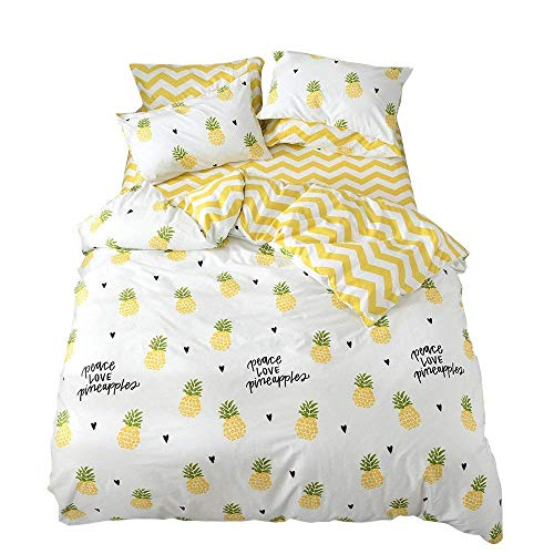 EnjoyBridal Kids Queen Cotton Bedding Sets Full 3 Piece Pineapple Print Duvet Cover Sets Queen for Teens Boys Girls White Yellow Quilt Comforter Cover Set Full/Queen Bedding Collection,No Comforter
