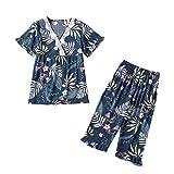 Kangma Women Floral Loose Pajama Sets V-Neck Short Sleeve Tops and Pants Sleepwear Blue