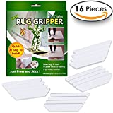 Rug Grippers For Hardwood Floors - Best Anti Curling Rug Gripper , Non Slip Rug Pad - Non Skid Rug Pads Tape - Keep Your Rugs In Place & Make Corners Flat - Carpet Tape For Area Rugs , Set Of 16 Pcs