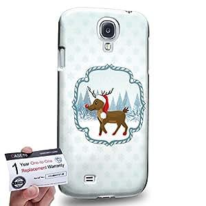 Case88 [Samsung Galaxy S4] 3D impresa Carcasa/Funda dura para & Tarjeta de garantía - Art Navidad Classics Navidad Rudolph