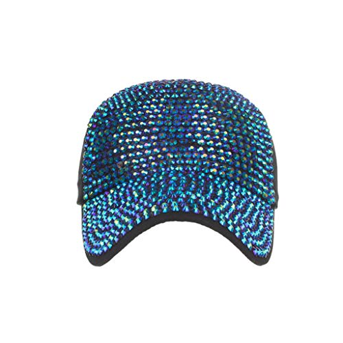 Benficial Unisex Case Fully Studded Rhinestone Hat Adjustable Cotton Baseball Cap Trucker Ponycaps Plain Hat Blue ()