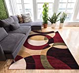 Well Woven Casual Modern Styling Shapes and Circles Area Rug 5x7 (5' x 7'2'') Multi Color Red Black Beige Thick and Soft Pile Easy Care Pile Suitable for high Traffic Areas