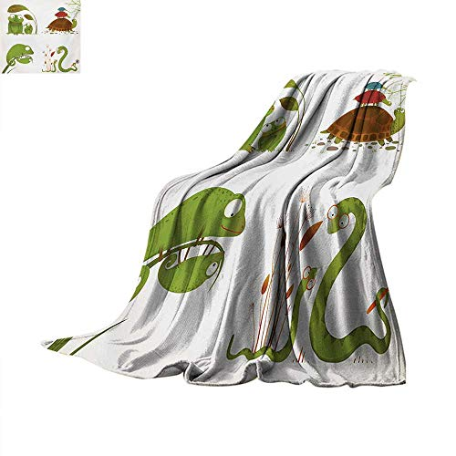 ReptileFlannel Single Student blanketReptile Family Colorful Baby Collection Snake Frog Ninja Turtles Love MotherStudent Blanket 80