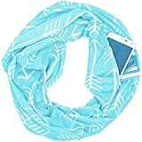 YQWEL Women Zipper Pocketed Scarf,Infinity Scarf with Pocket,Couple Scarf (Printing Sky Blue)