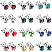 LOYALLOOK 12 Pairs 316L Surgical Stainless Steel Round Rhinestone Studs Earrings Birthstone Assorted for Mens Womens 4-6mm
