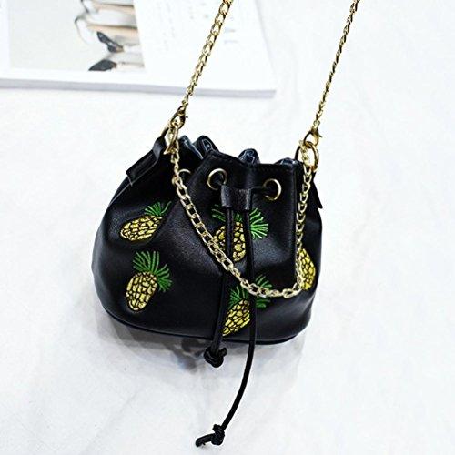 LHWY Moda De La Mujer De La PiñA ImpresióN Bolso Bandolera Bolsas De Hombro Negro