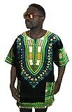 Vipada's Dashiki Shirt African Top Men's Dashiki Black and Green New 2XL