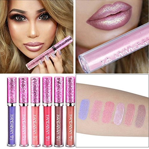 Diamond Lipstick - Petansy Matte Metallic Lip Gloss Liquid Diamond Glitter Lipstick Long Lasting Shimmer Sexy Lip Makeup