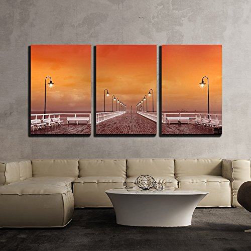 Outdoor Sunset Island Canvas (wall26 - 3 Piece Canvas Wall Art - Sunset at the Pier in Poland - Modern Home Decor Stretched and Framed Ready to Hang - 24