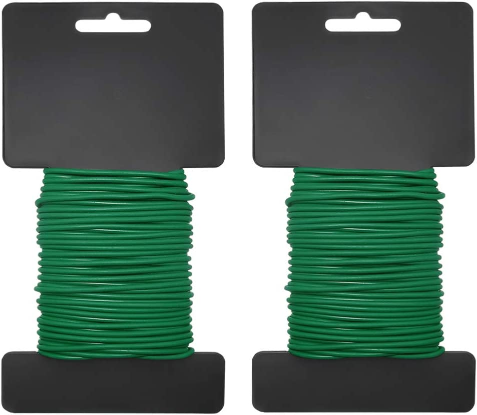 Shintop 2PCS Reusable Garden Plant Twist Tie, Heavy Duty Soft Wire Tie for Gardening, Home, Office (Green, 52.5 feet)
