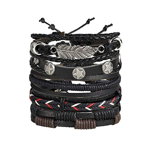 77Fine Genuine Leather Wrap Cuff Bracelet Star Bead Charm Braided Rope Handmade Hemp Cord 5 Wrap Bracelets for Men
